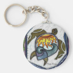 Nadada crepuscular de la tortuga llaveros personalizados