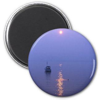 Nadada de la puesta del sol imán redondo 5 cm