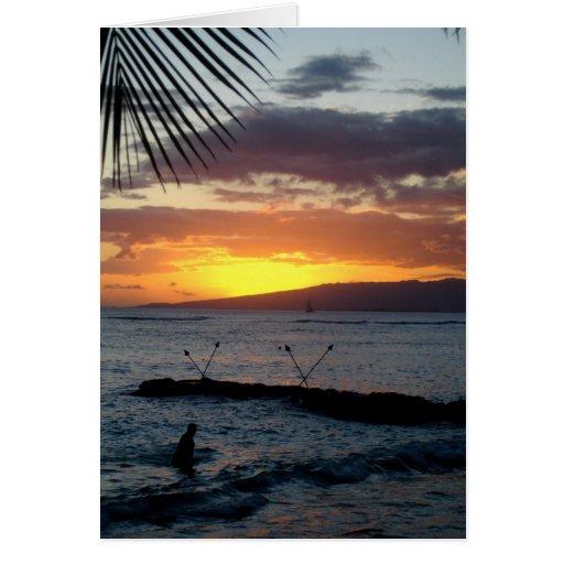 Nadada de la puesta del sol tarjeta de felicitación