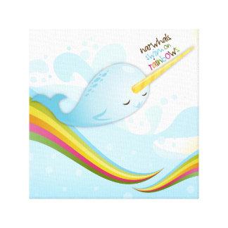 Nadada de Narwhals en los arco iris Impresión En Lienzo Estirada