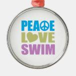 Nadada del amor de la paz ornamento para arbol de navidad