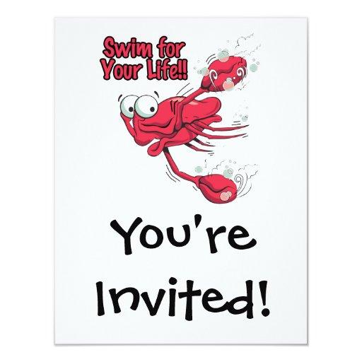 nadada para su cangrejo swmming asustado vida invitación personalizada