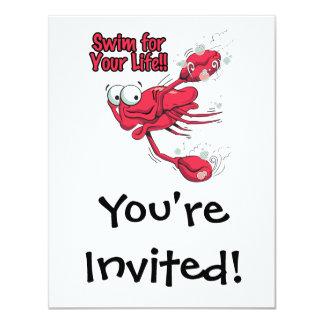 """nadada para su cangrejo swmming asustado vida invitación 4.25"""" x 5.5"""""""