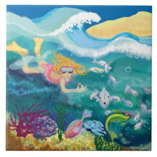 nadada tropical del día de fiesta azulejo cuadrado grande