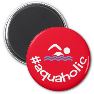 Nadador aquaholic del rojo de la diversión de imán redondo 5 cm