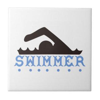 Nadador Azulejo Cuadrado Pequeño