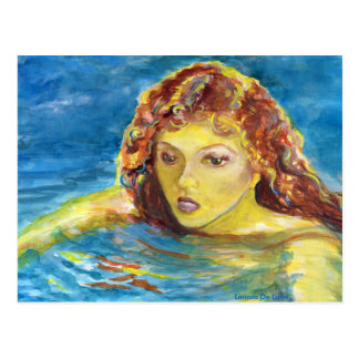 Nadador de sexo femenino principal rojo de la tarjetas postales