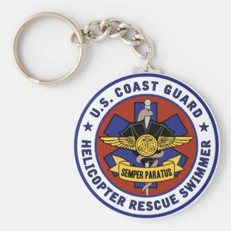 Nadador del rescate del guardacostas llaveros personalizados