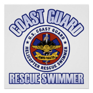 Nadador del rescate del guardacostas póster
