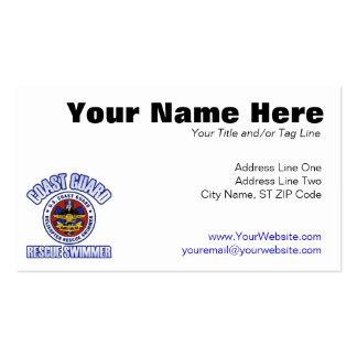 Nadador del rescate del guardacostas tarjetas personales