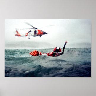 Nadador del rescate del Kodiak - guardacostas Póster