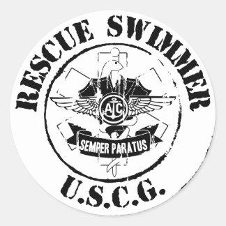 Nadador del rescate (Grunge) Pegatina Redonda