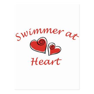 Nadador en el corazón postal