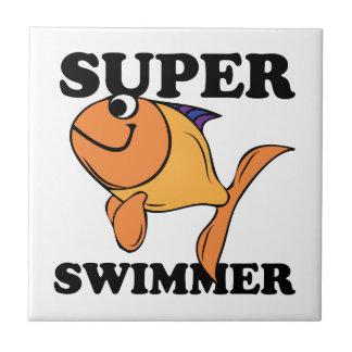 Nadador estupendo azulejo cuadrado pequeño