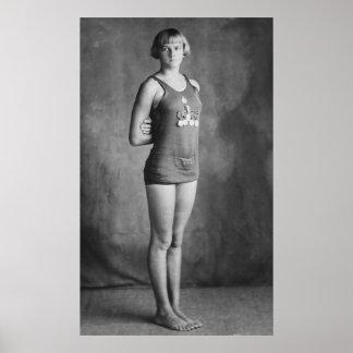 Nadador olímpico del campeón, los años 20 impresiones