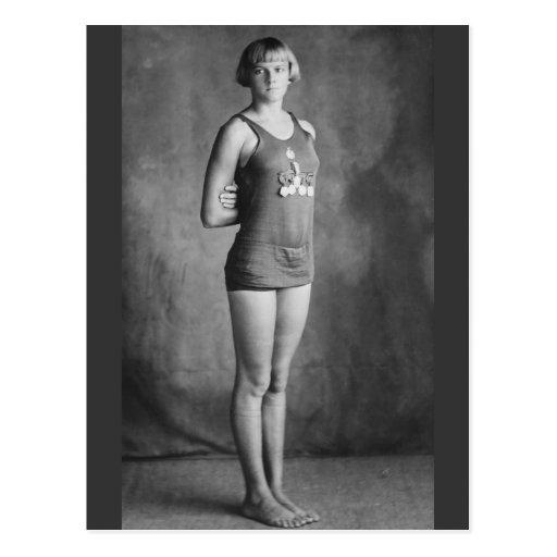 Nadador olímpico del campeón, los años 20 tarjeta postal