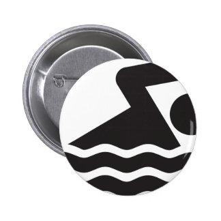 Nadador Pin Redondo De 2 Pulgadas
