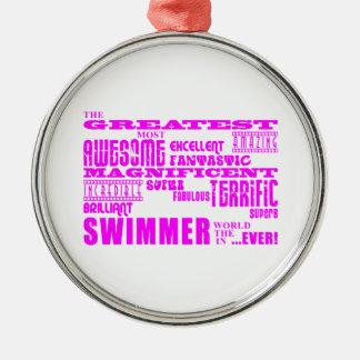 Nadadores de los chicas: Nadador más grande rosado Adornos De Navidad