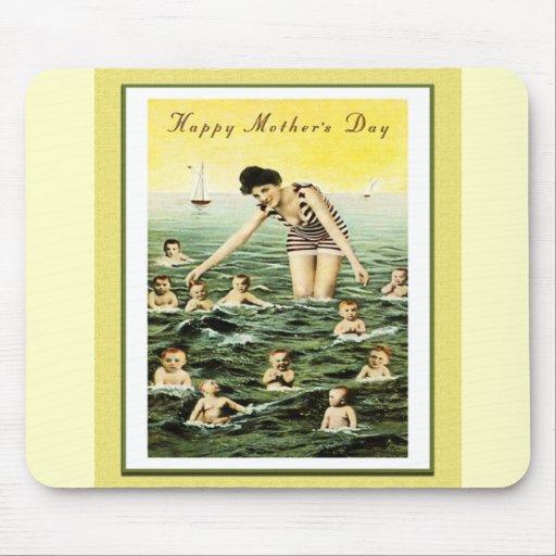 Nadadores del bebé del día de madre del vintage tapete de raton
