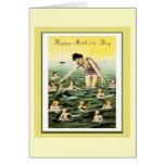Nadadores del bebé del día de madre del vintage felicitacion