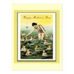 Nadadores del bebé del día de madre del vintage postal