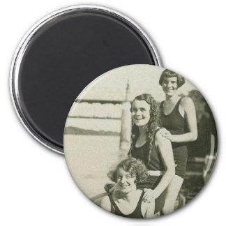 Nadadores retros de las mujeres de Deco de las muj Imán De Frigorifico