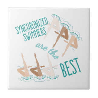 Nadadores sincronizados azulejo cuadrado pequeño