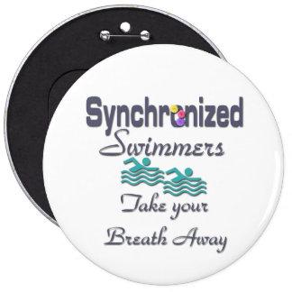 Nadadores sincronizados pin redondo de 6 pulgadas