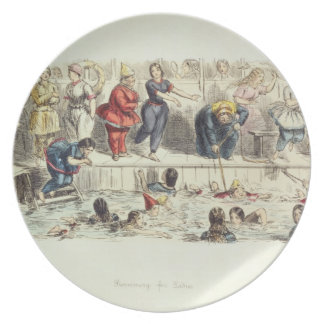 Nadando para las señoras, 1844 (litho) platos de comidas