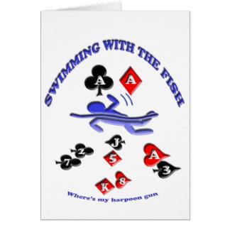 nade con los pescados, donde está mi arma de arpón tarjeta de felicitación