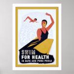 Nade para la salud y la aptitud del vintage del ~ póster