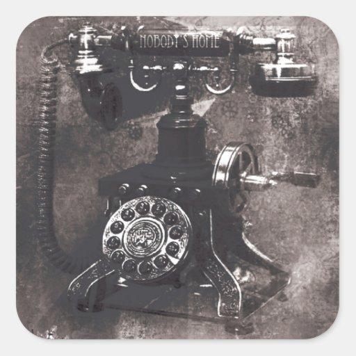Nadie arte retro casero del teléfono en gris pegatina cuadrada