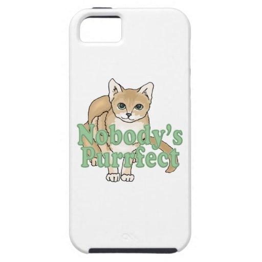 Nadie gato del moreno de Purrfect iPhone 5 Carcasas