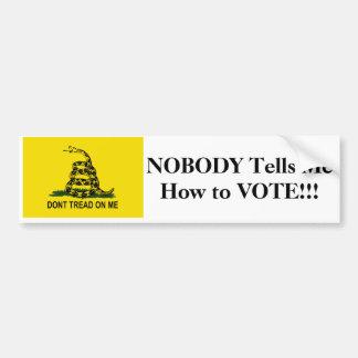 Nadie me dice cómo votar pegatina de parachoque