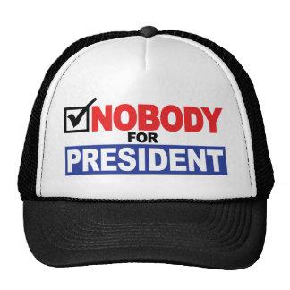 Nadie para el presidente gorros bordados