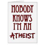 Nadie sabe que soy un ateo tarjetón