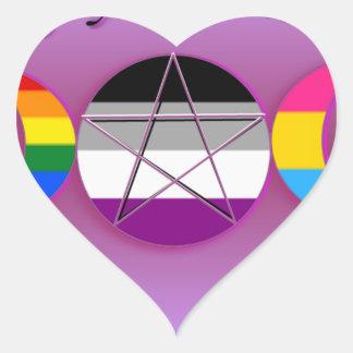 Nadie sabe que soy un orgullo pagano Pansexual gay Pegatina En Forma De Corazón