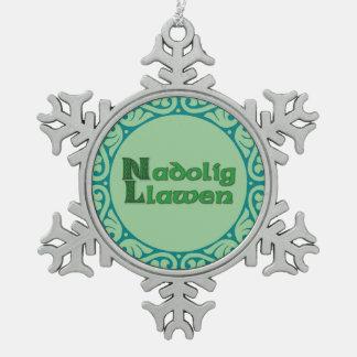 Nadolig Llawen - copo de nieve del navidad Galés Adorno De Peltre En Forma De Copo De Nieve