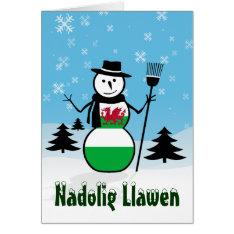 Nadolig Llawen Merry Christmas Wales Snowman Card at Zazzle