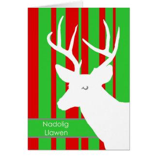 Nadolig Llawen, navidad en Galés, ciervo blanco Tarjeta De Felicitación