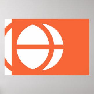 Nagano Prefecture, Japan flag Poster