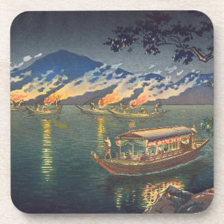 Nagaragawa Cormorant Fishing  Tsuchiya Koitsu Drink Coaster