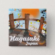 Nagasaki Japanese blossom poster. Button