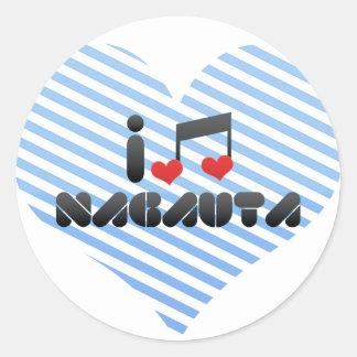 Nagauta fan classic round sticker