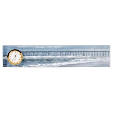 Beach Themed Nags Head Fishing Pier Name Plate with Clock