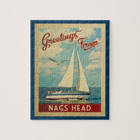 Nags Head Sailboat Vintage Travel North Carolina Jigsaw Puzzle