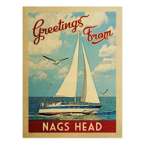 Nags Head Sailboat Vintage Travel North Carolina Postcard