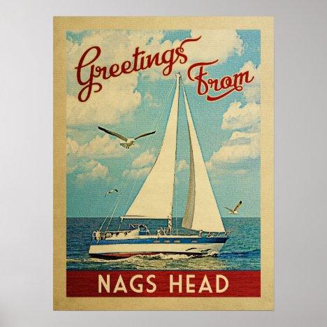 Nags Head Sailboat Vintage Travel North Carolina Poster