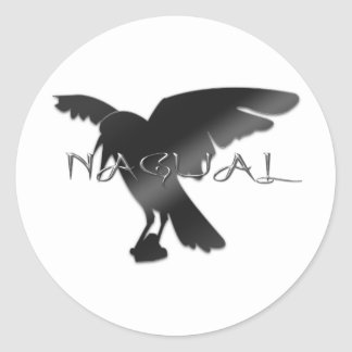 Nagual Crow Raven Round Stickers