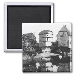Nahe Bridge, Bad Kreuznach, c.1910 2 Inch Square Magnet